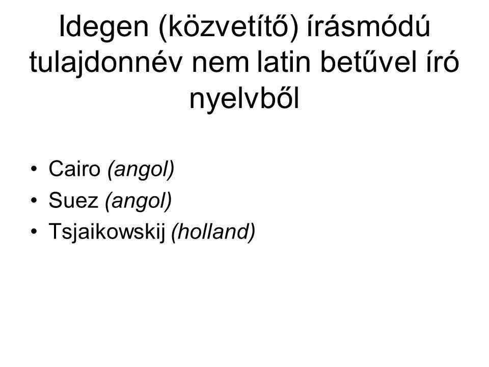 Idegen (közvetítő) írásmódú tulajdonnév nem latin betűvel író nyelvből