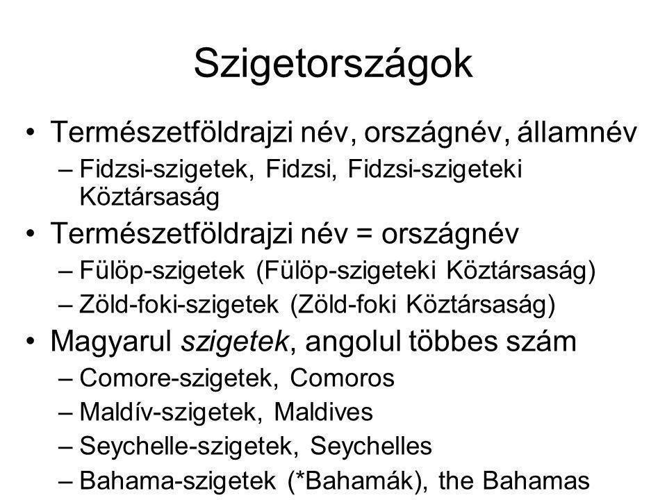 Szigetországok Természetföldrajzi név, országnév, államnév