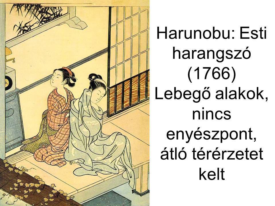 Harunobu: Esti harangszó (1766) Lebegő alakok, nincs enyészpont, átló térérzetet kelt
