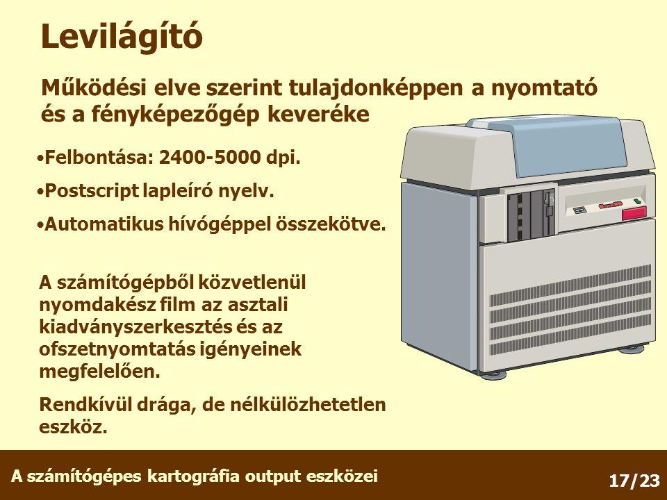 Levilágító Működési elve szerint tulajdonképpen a nyomtató és a fényképezőgép keveréke. Felbontása: 2400-5000 dpi.