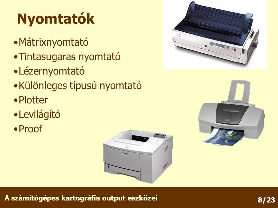 Nyomtatók Mátrixnyomtató Tintasugaras nyomtató Lézernyomtató