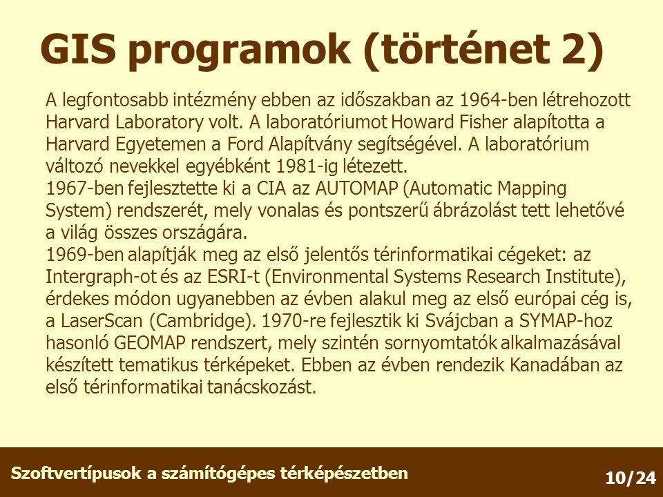 GIS programok (történet 2)