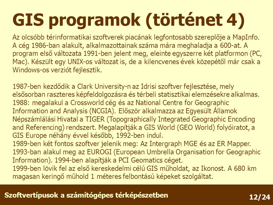 GIS programok (történet 4)