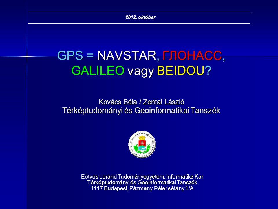 GPS = NAVSTAR, ГЛОНАСС, GALILEO vagy BEIDOU