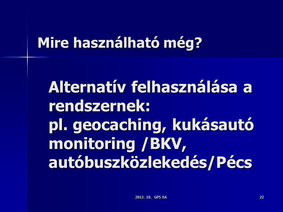 Mire használható még Alternatív felhasználása a rendszernek: pl. geocaching, kukásautó monitoring /BKV, autóbuszközlekedés/Pécs.