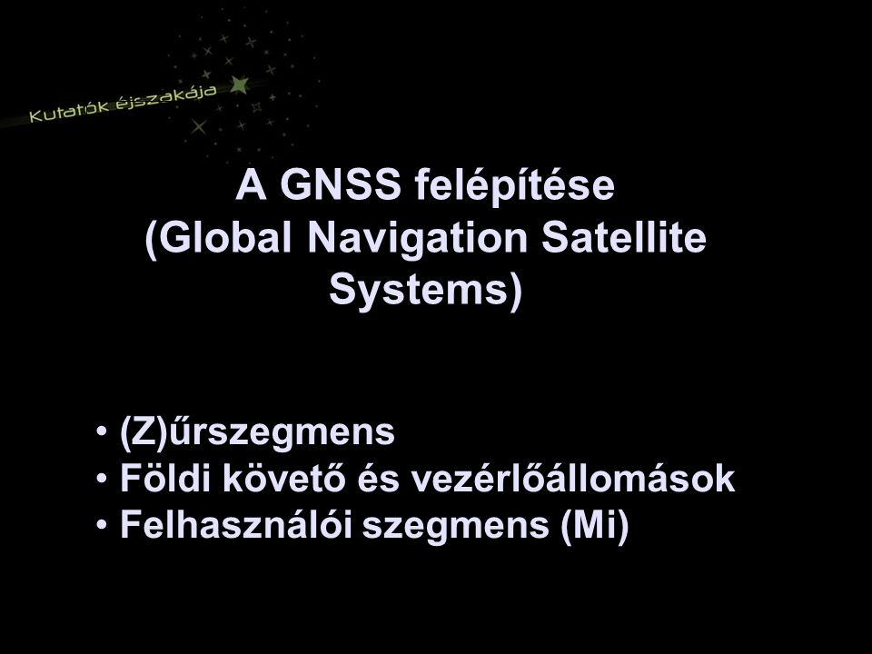 A GNSS felépítése (Global Navigation Satellite Systems)
