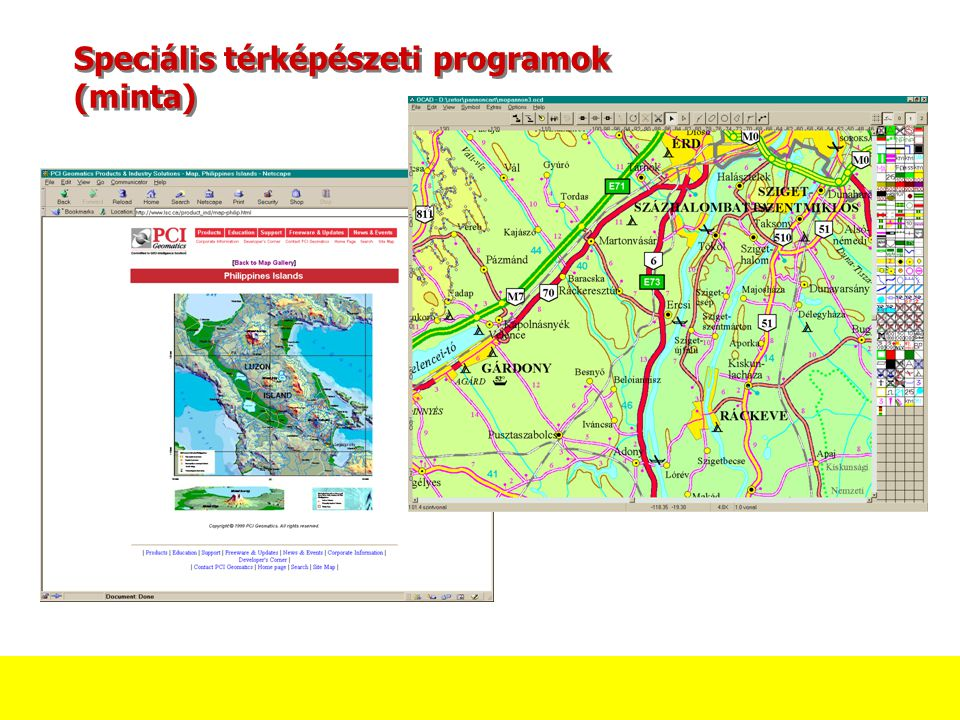 Speciális térképészeti programok (minta)