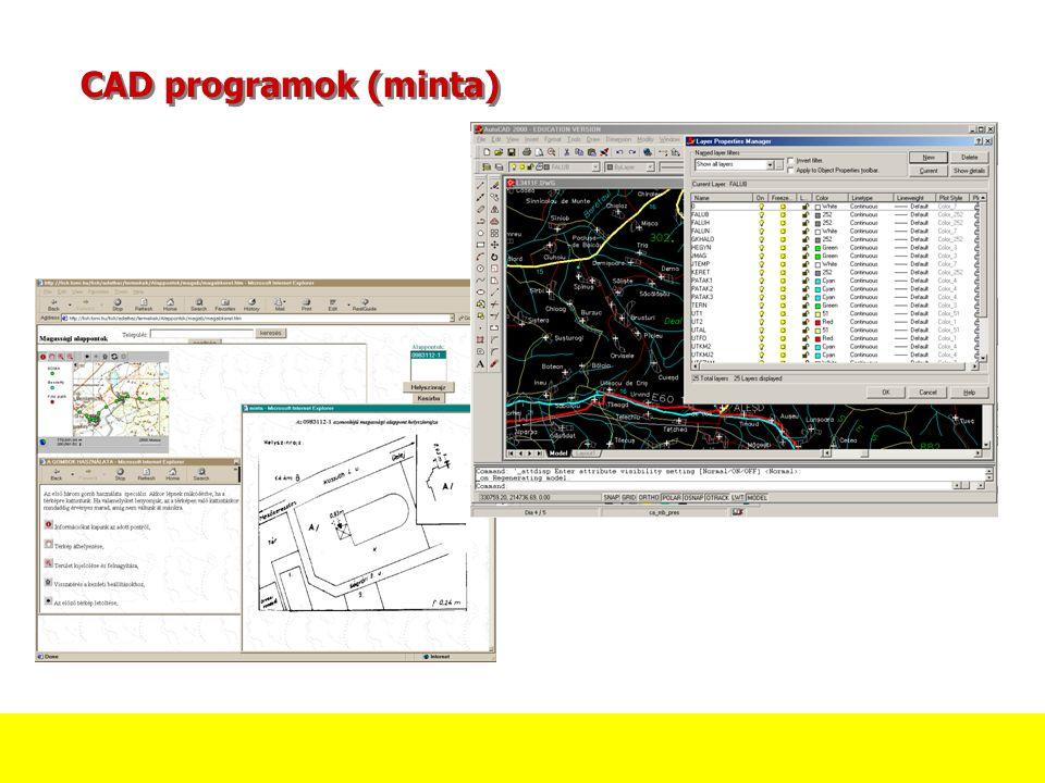 CAD programok (minta) A jobb oldali minta egy AutoCAD képernyőt mutat. A képernyő nagy részét a rétegek listája foglalja el.