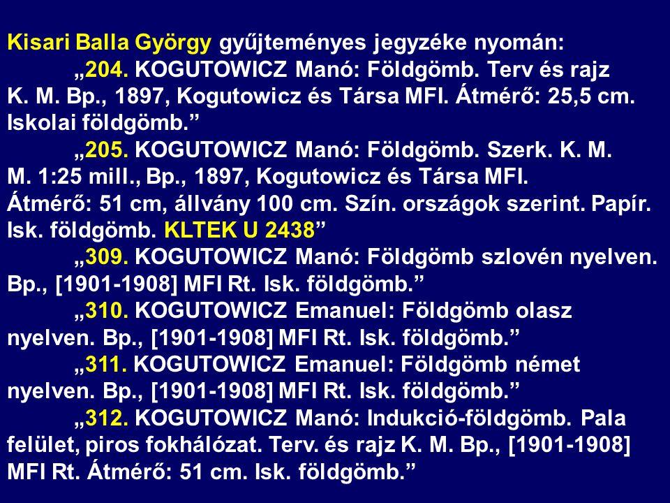Kisari Balla György gyűjteményes jegyzéke nyomán:
