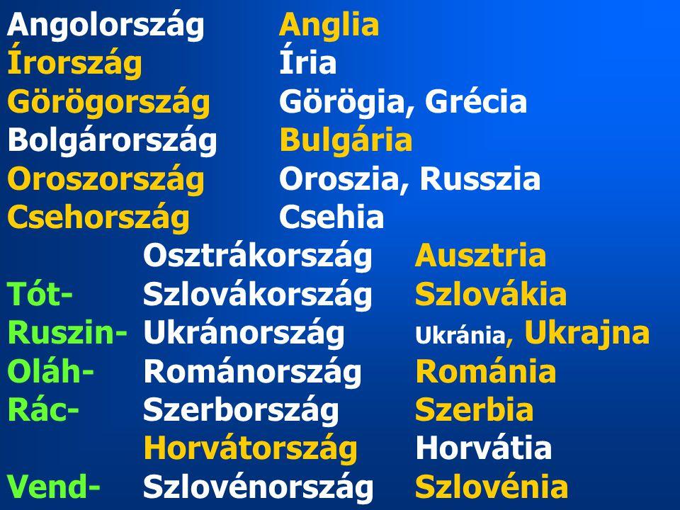 Angolország Anglia Írország Íria. Görögország Görögia, Grécia. Bolgárország Bulgária. Oroszország Oroszia, Russzia.