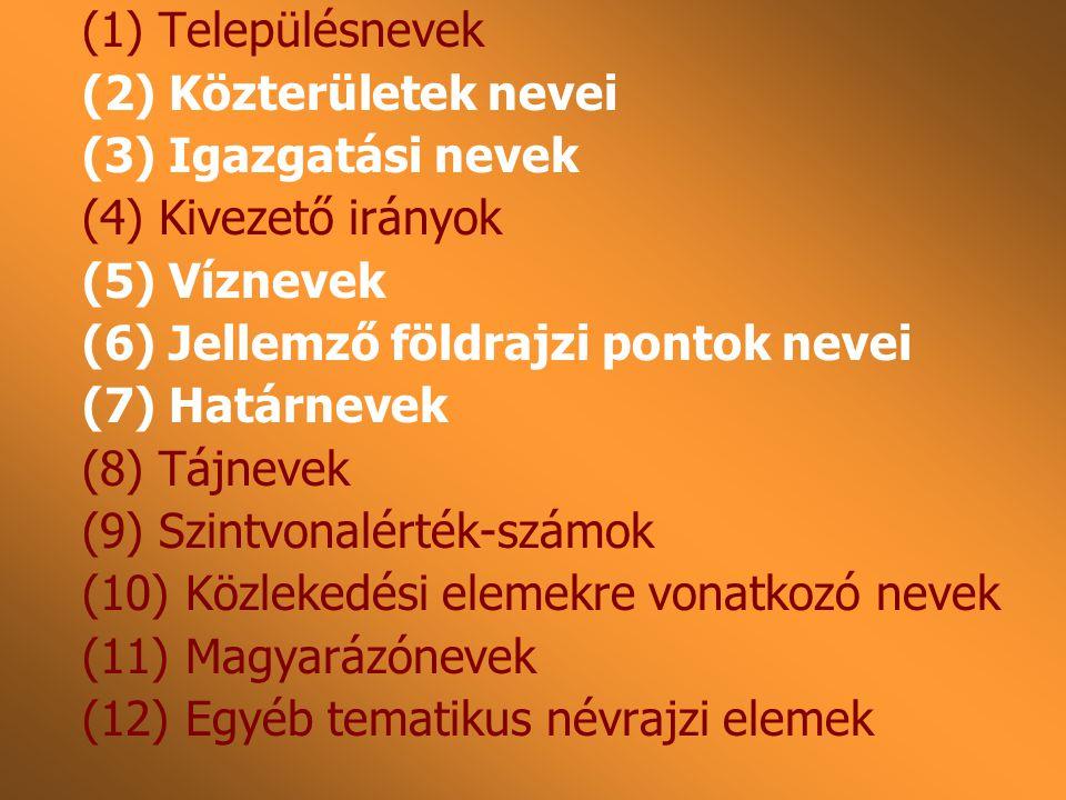 (1) Településnevek (2) Közterületek nevei. (3) Igazgatási nevek. (4) Kivezető irányok. (5) Víznevek.