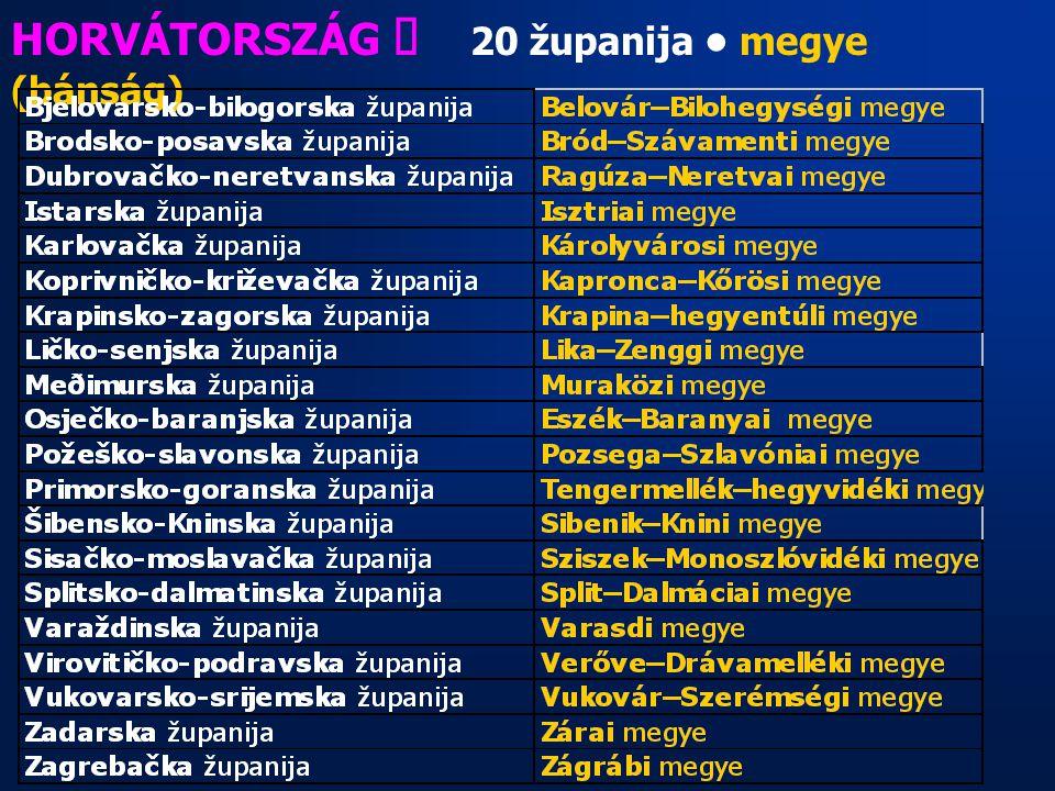 HORVÁTORSZÁG ő 20 županija • megye (bánság)