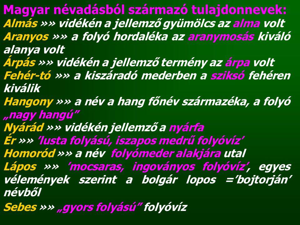 Magyar névadásból származó tulajdonnevek: