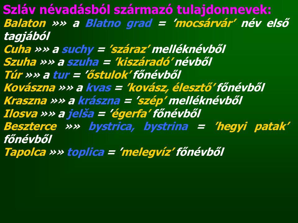 Szláv névadásból származó tulajdonnevek: