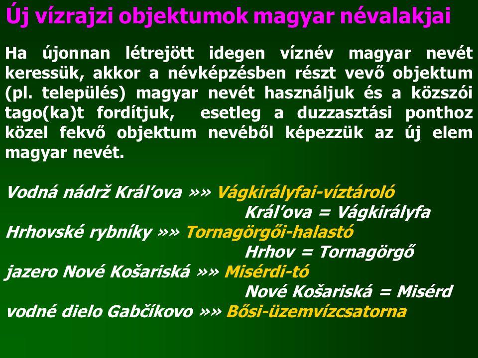 Új vízrajzi objektumok magyar névalakjai