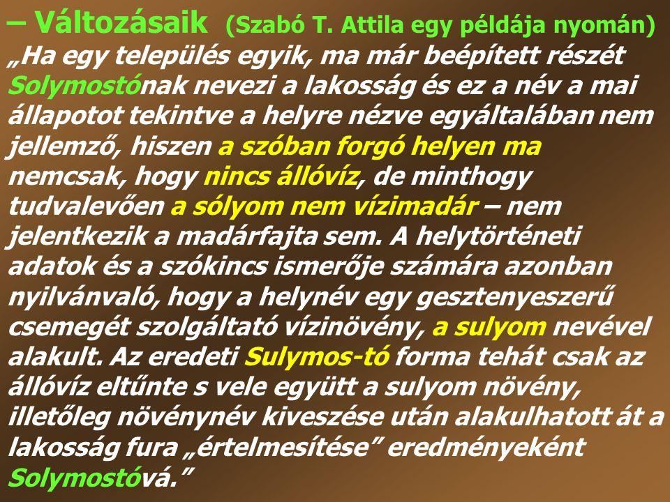 – Változásaik (Szabó T. Attila egy példája nyomán)