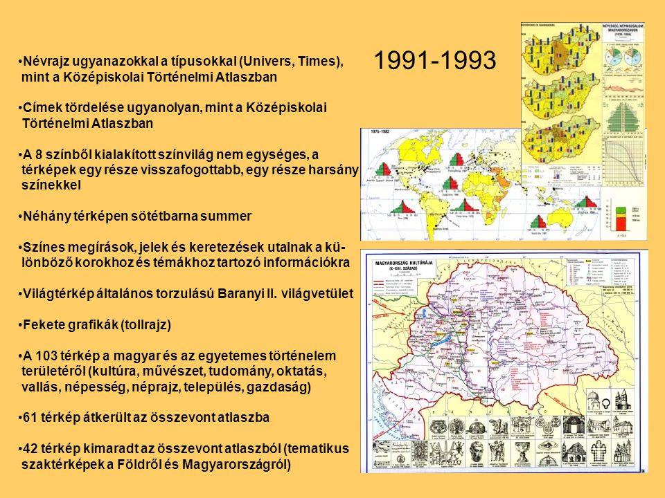 1991-1993 Névrajz ugyanazokkal a típusokkal (Univers, Times), mint a Középiskolai Történelmi Atlaszban.