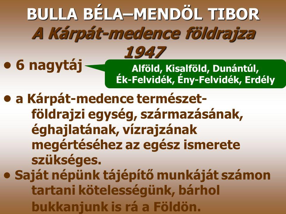 BULLA BÉLA–MENDÖL TIBOR A Kárpát-medence földrajza 1947