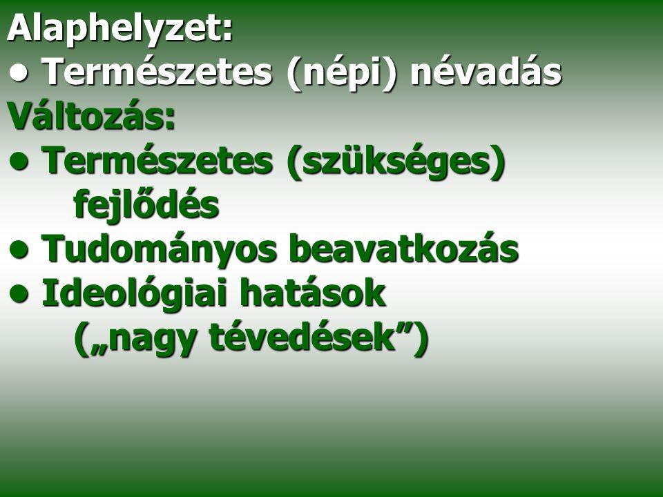 Alaphelyzet: • Természetes (népi) névadás. Változás: • Természetes (szükséges) fejlődés. • Tudományos beavatkozás.