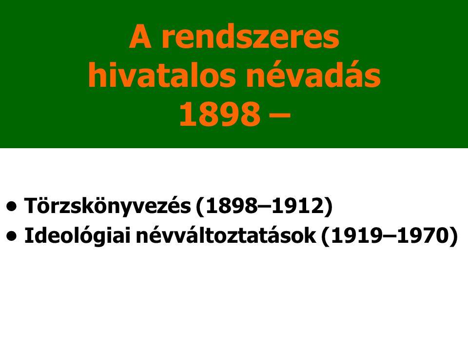 A rendszeres hivatalos névadás 1898 –