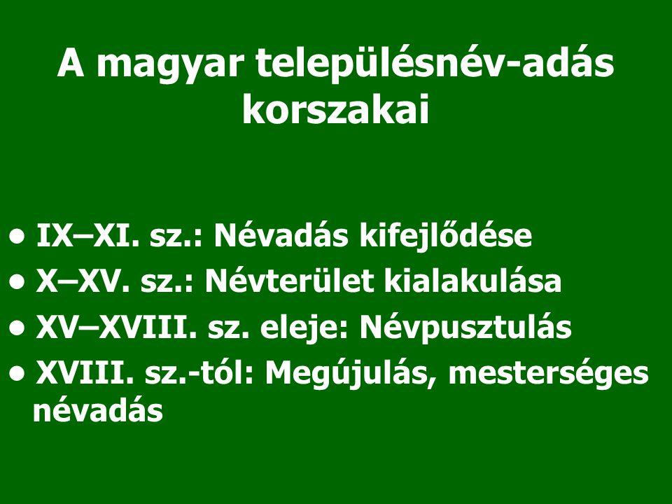 A magyar településnév-adás korszakai