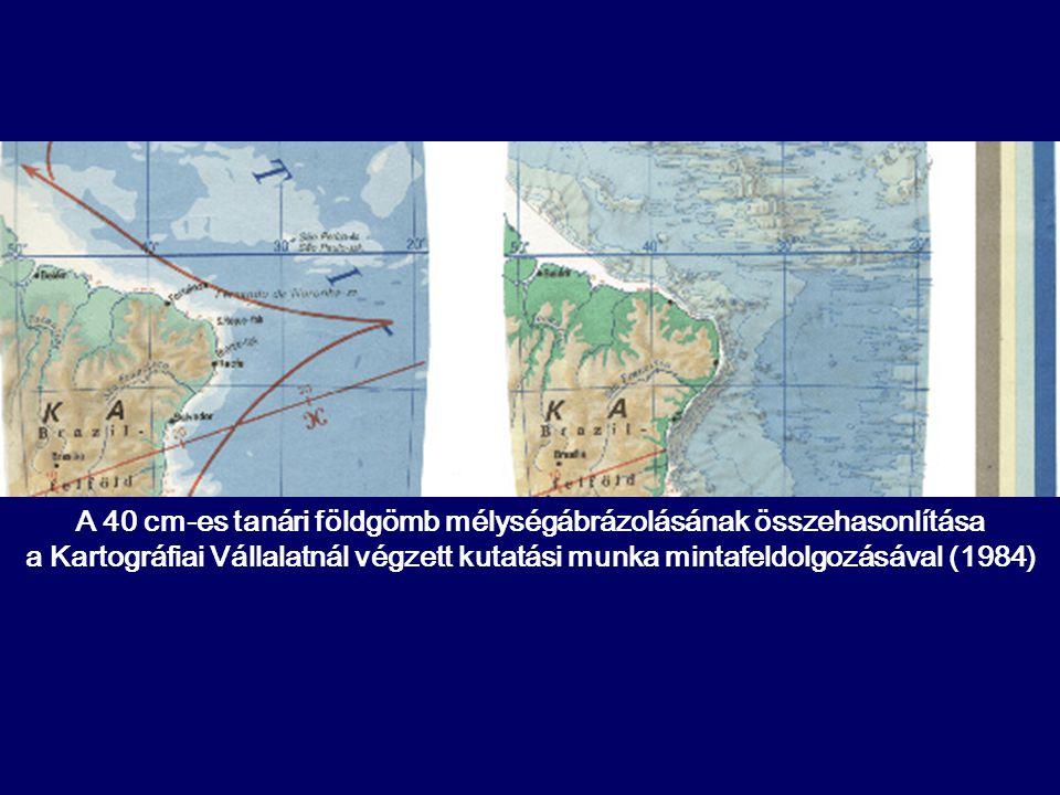 A 40 cm-es tanári földgömb mélységábrázolásának összehasonlítása