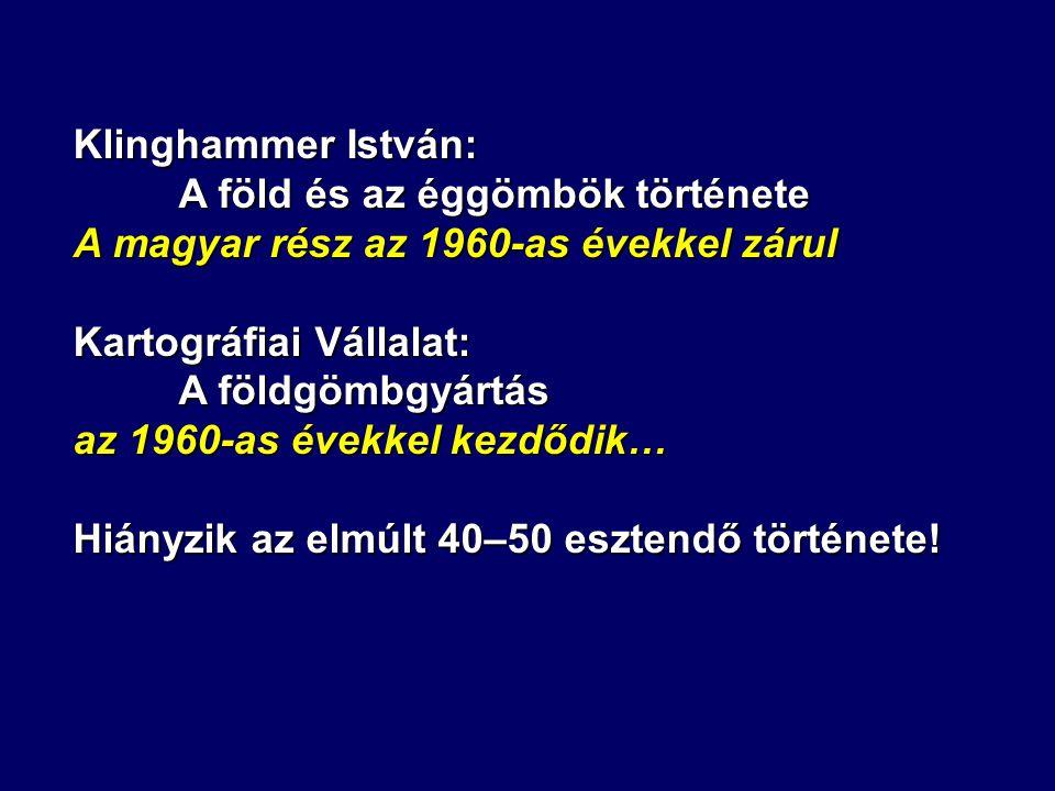 Klinghammer István: A föld és az éggömbök története. A magyar rész az 1960-as évekkel zárul. Kartográfiai Vállalat: