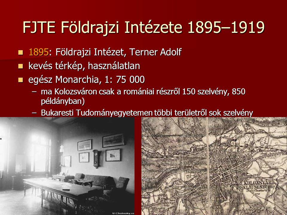 FJTE Földrajzi Intézete 1895–1919