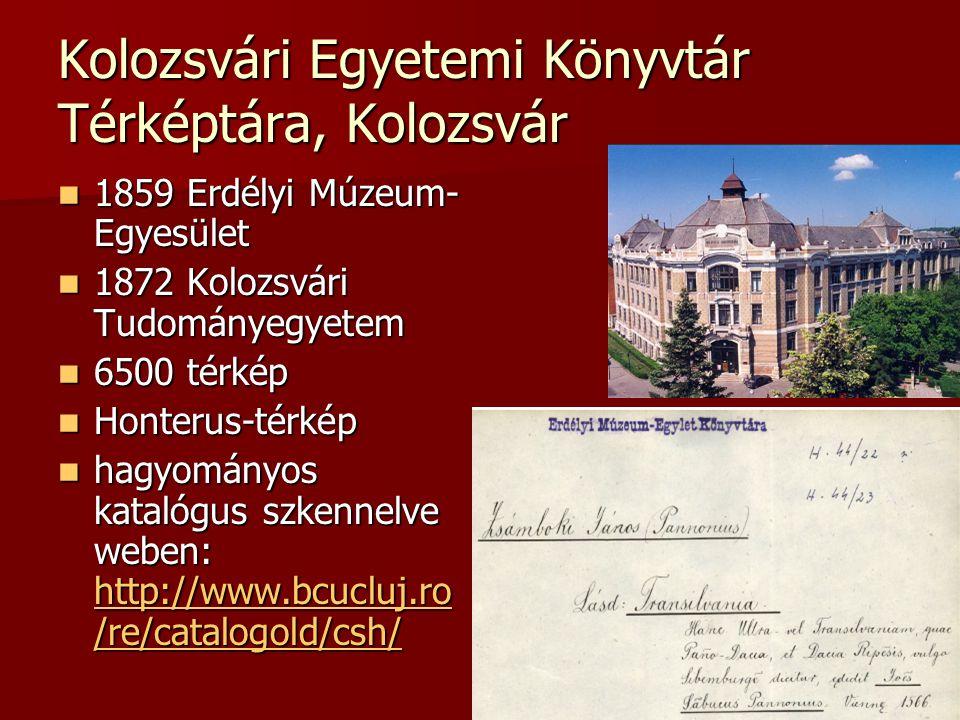 Kolozsvári Egyetemi Könyvtár Térképtára, Kolozsvár