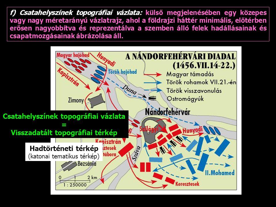 Csatahelyszínek topográfiai vázlata Visszadatált topográfiai térkép