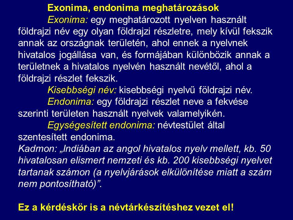Exonima, endonima meghatározások