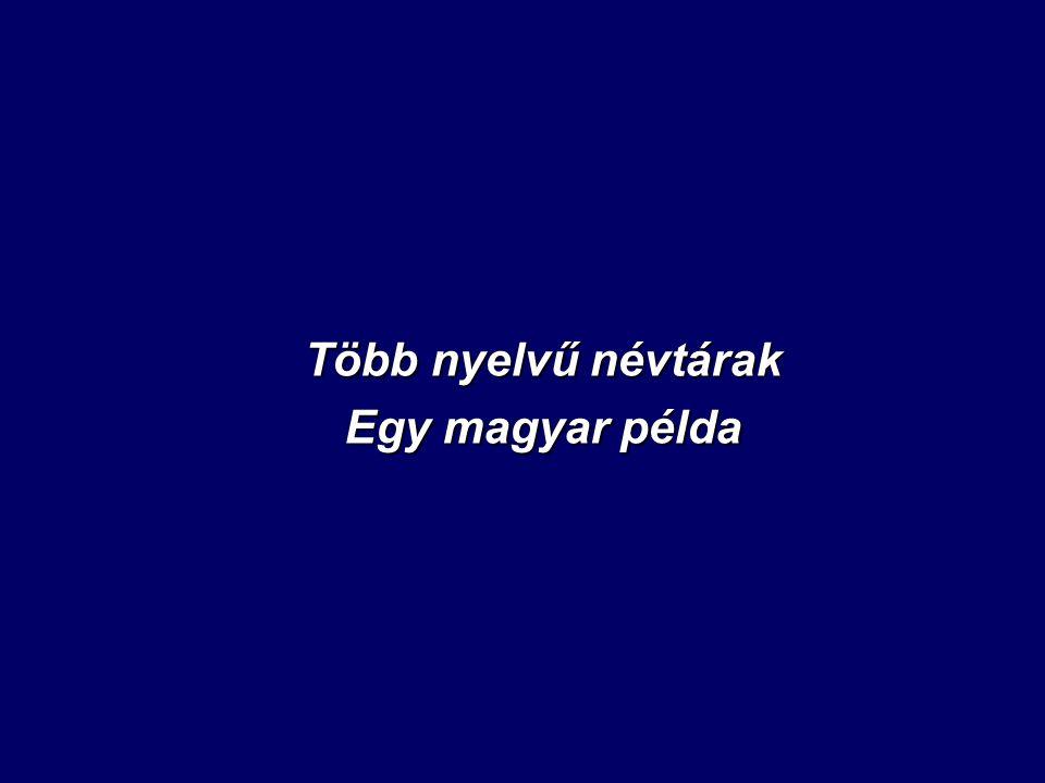 Több nyelvű névtárak Egy magyar példa