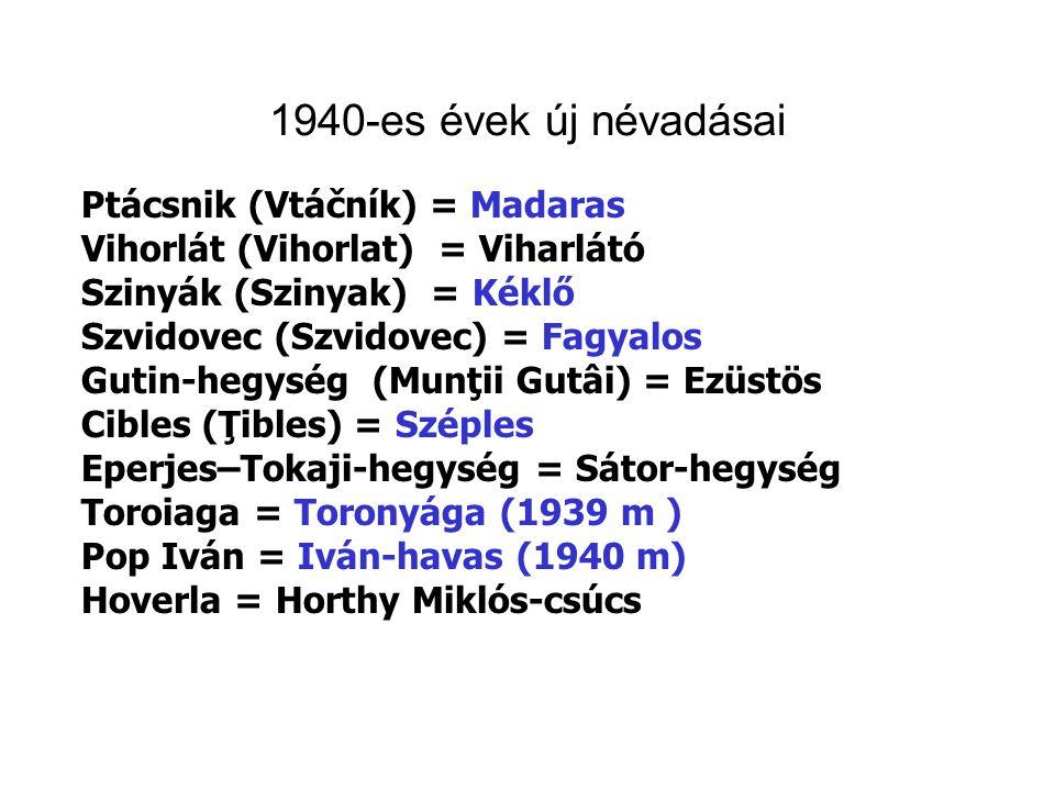 1940-es évek új névadásai Ptácsnik (Vtáčník) = Madaras