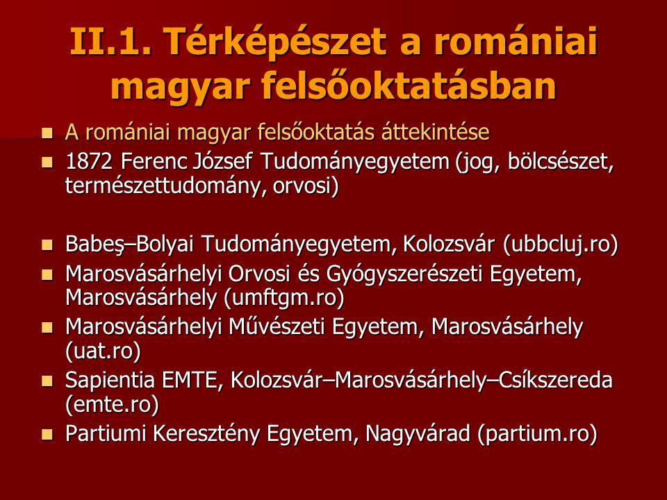 II.1. Térképészet a romániai magyar felsőoktatásban