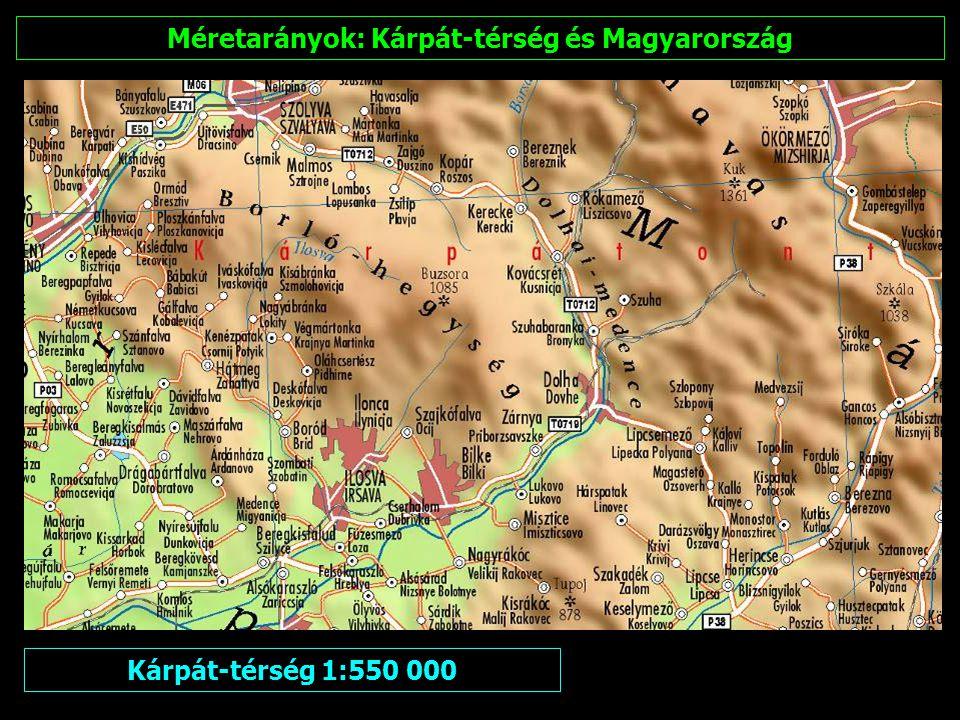 Méretarányok: Kárpát-térség és Magyarország