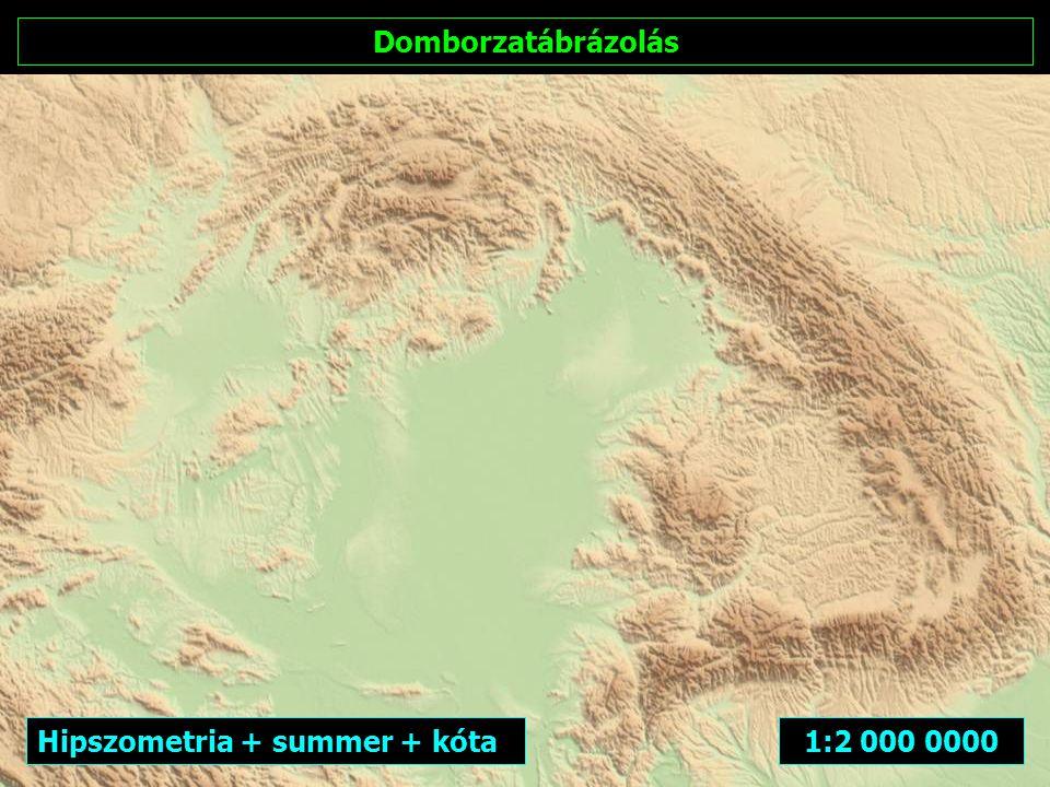 Domborzatábrázolás Hipszometria + summer + kóta 1:2 000 0000