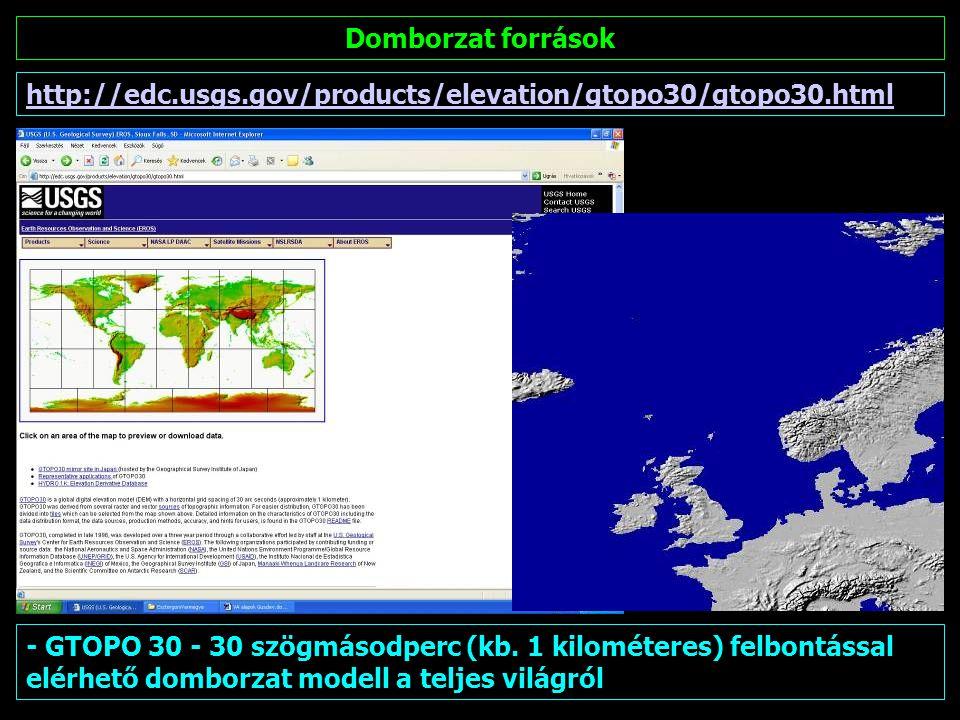 Domborzat források http://edc.usgs.gov/products/elevation/gtopo30/gtopo30.html.