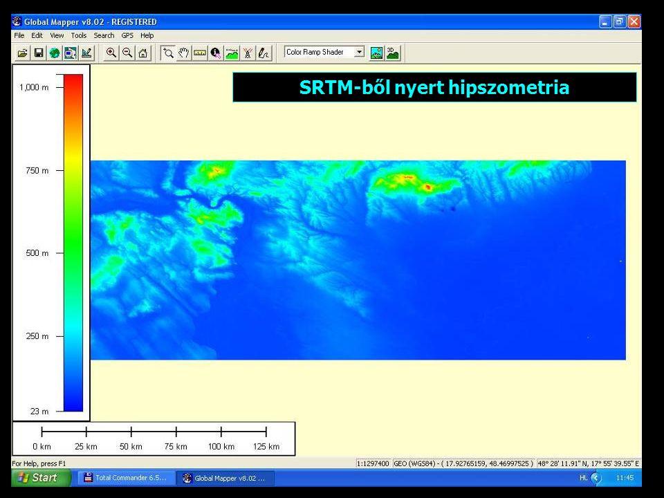 SRTM-ből nyert hipszometria