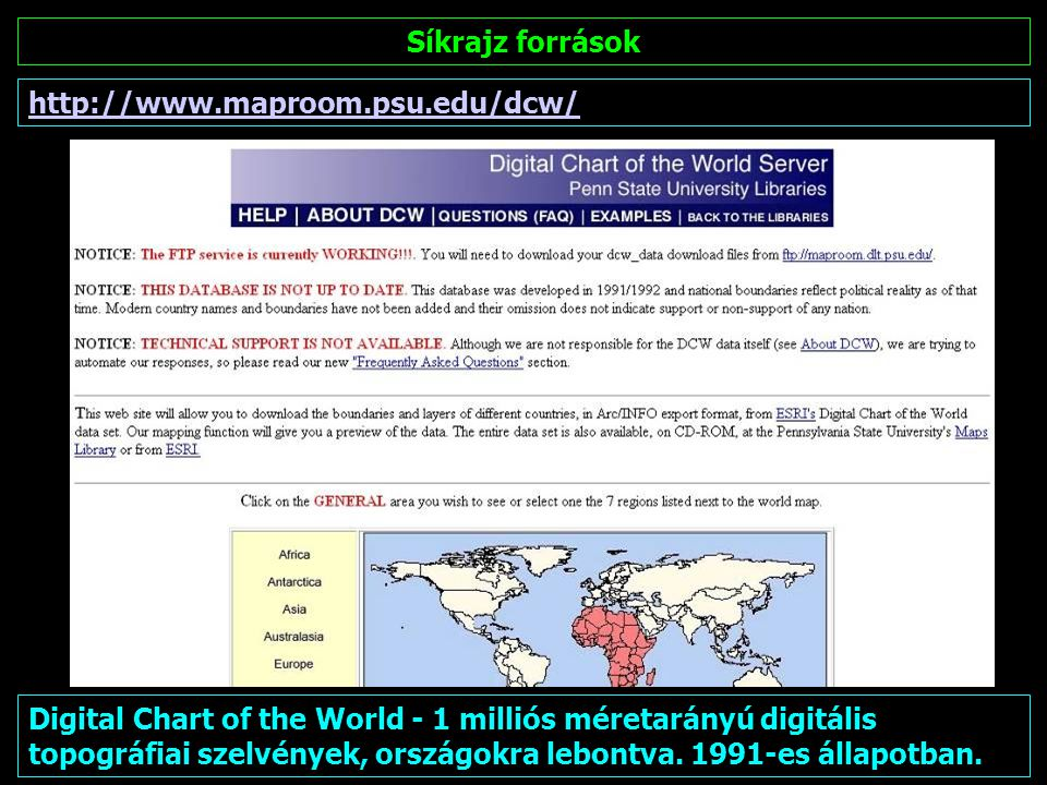 Síkrajz források http://www.maproom.psu.edu/dcw/