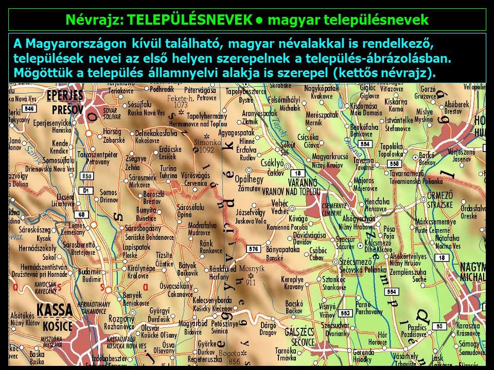 Névrajz: TELEPÜLÉSNEVEK • magyar településnevek