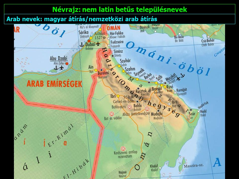 Névrajz: nem latin betűs településnevek