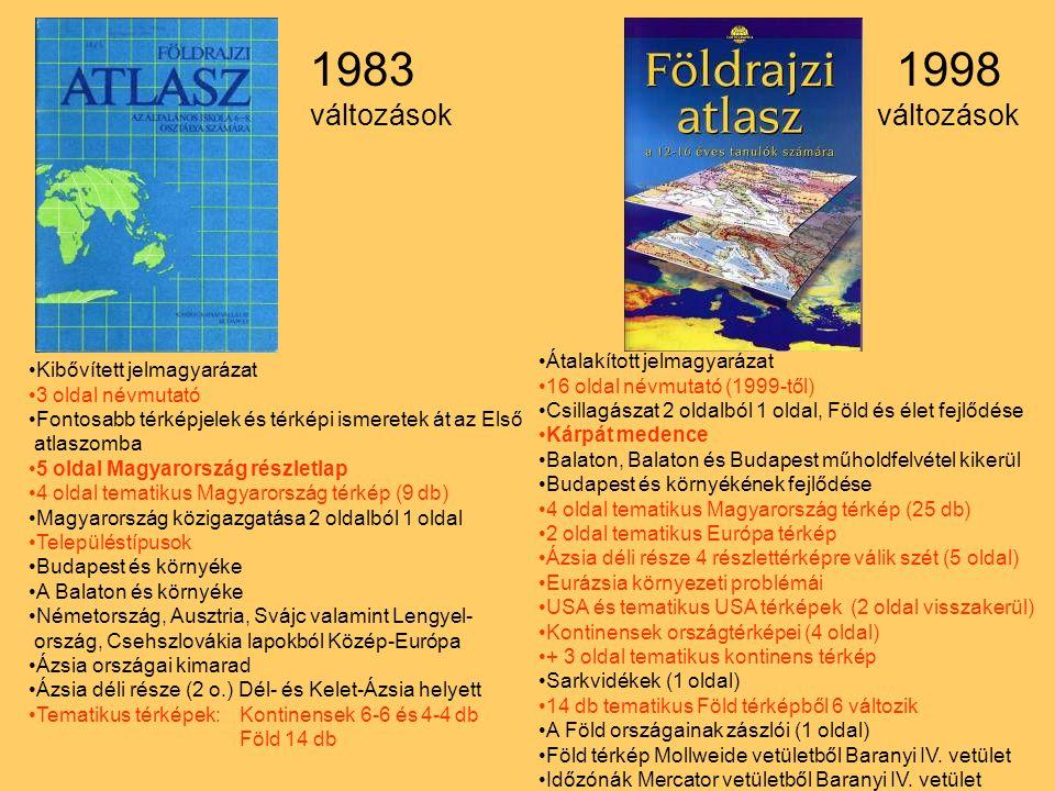 1983 1998 változások változások Átalakított jelmagyarázat