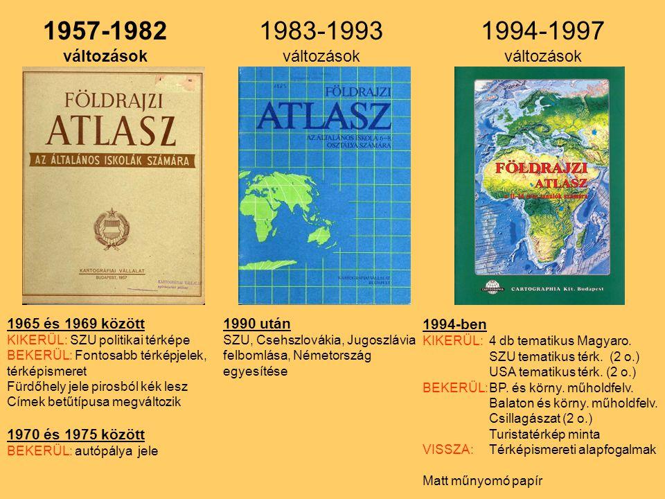 1957-1982 1983-1993 1994-1997 változások változások változások