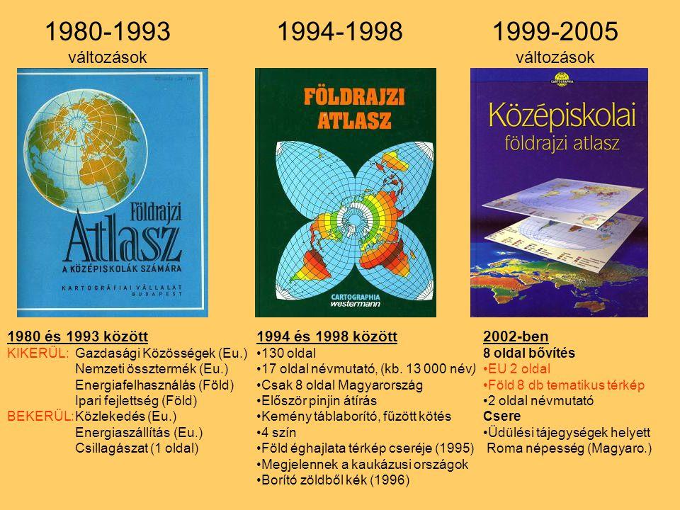 1980-1993 1994-1998 1999-2005 változások változások