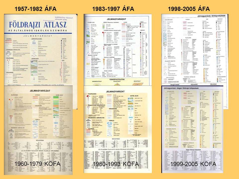 1957-1982 ÁFA 1983-1997 ÁFA 1998-2005 ÁFA 1960-1979 KÖFA 1980-1993 KÖFA 1999-2005 KÖFA