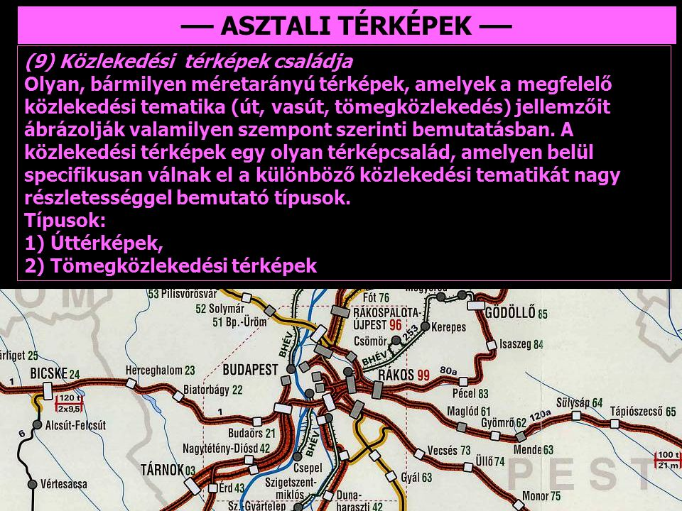 –– ASZTALI TÉRKÉPEK –– (9) Közlekedési térképek családja