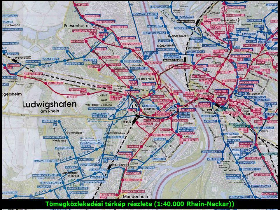 Tömegközlekedési térkép részlete (1:40.000 Rhein-Neckar))