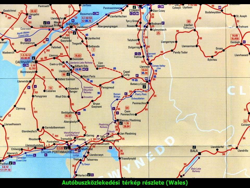 Autóbuszközlekedési térkép részlete (Wales)