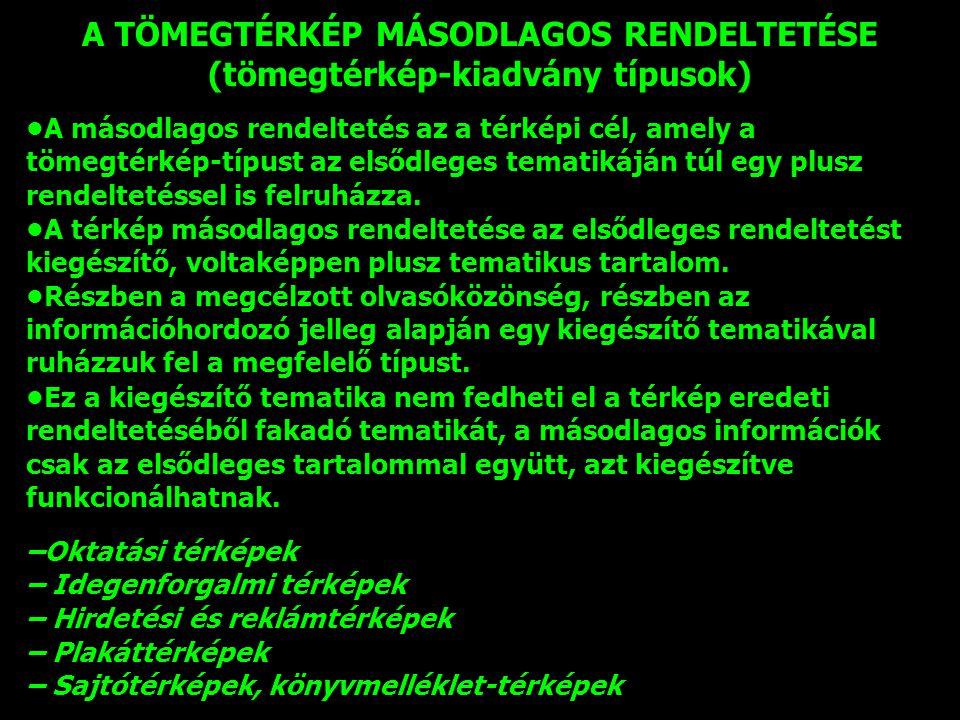 A TÖMEGTÉRKÉP MÁSODLAGOS RENDELTETÉSE (tömegtérkép-kiadvány típusok)