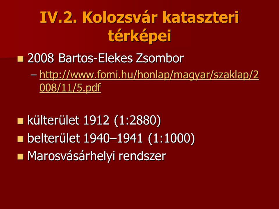 IV.2. Kolozsvár kataszteri térképei